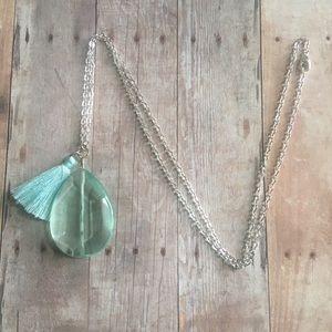 Blue gemstone long statement necklace w/ tassel